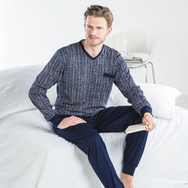 Pyjama long, v-neck, cuffs