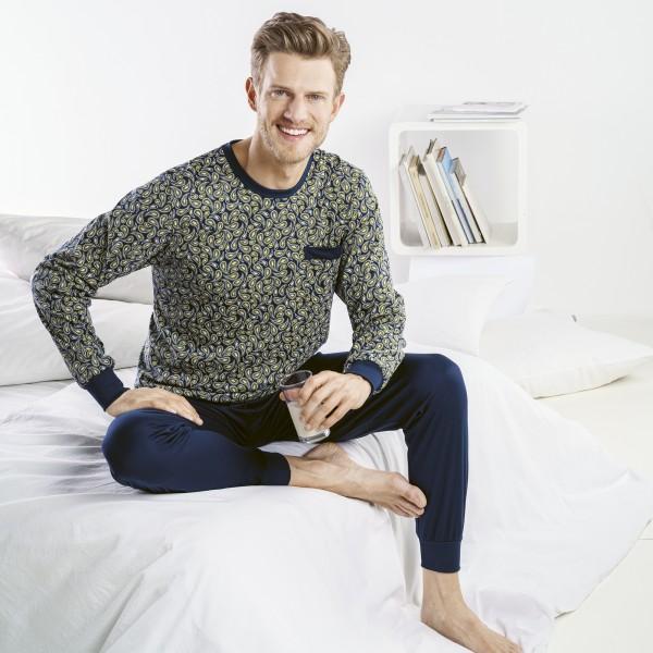 Pyjama lang, Rundhals, Bündchen