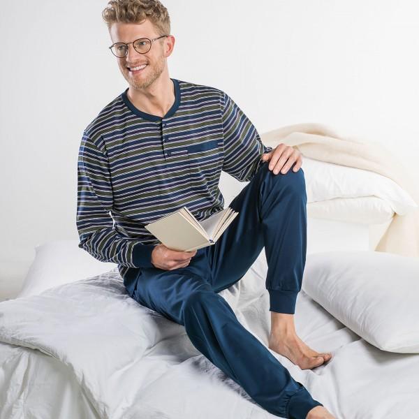 Pyjama long, patte de boutonnage, poignets serrés