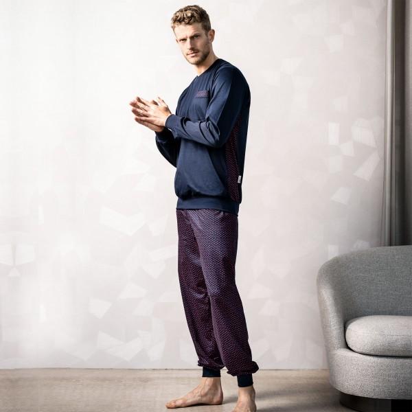 Pyjama long, round-neck, cuffs