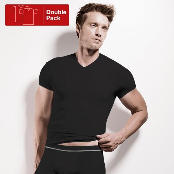 Shirt manches courtes, encolure en V, double paquet