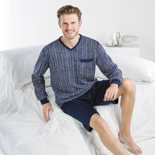 Pyjama lang/kurz, V-Ausschnitt, Bündchen