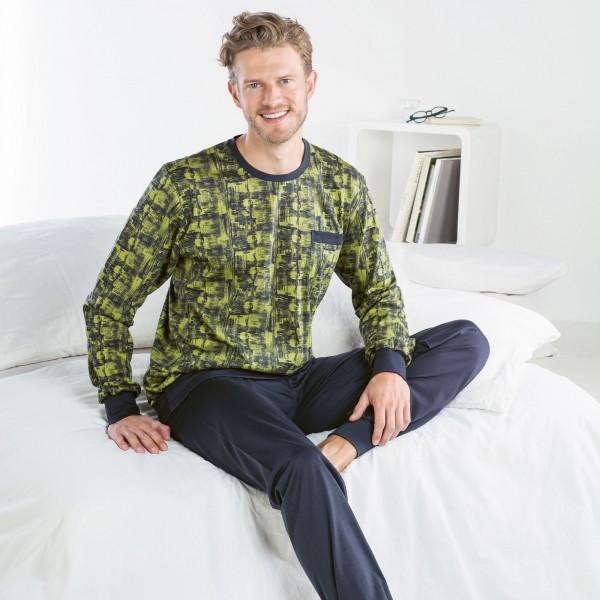 Pyjama long, encolure ronde, poignets serrés