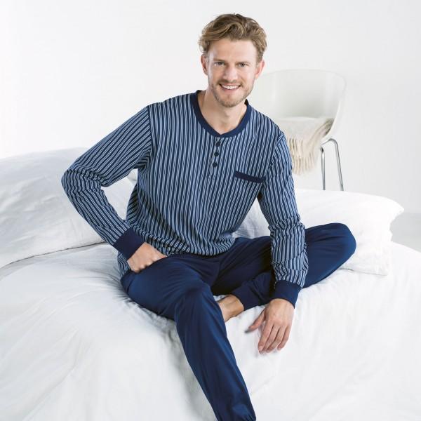 Pyjama lang, mit Knopfleiste, Bündchen