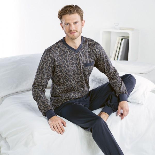 Pyjama lang, V-Ausschnitt, Bündchen