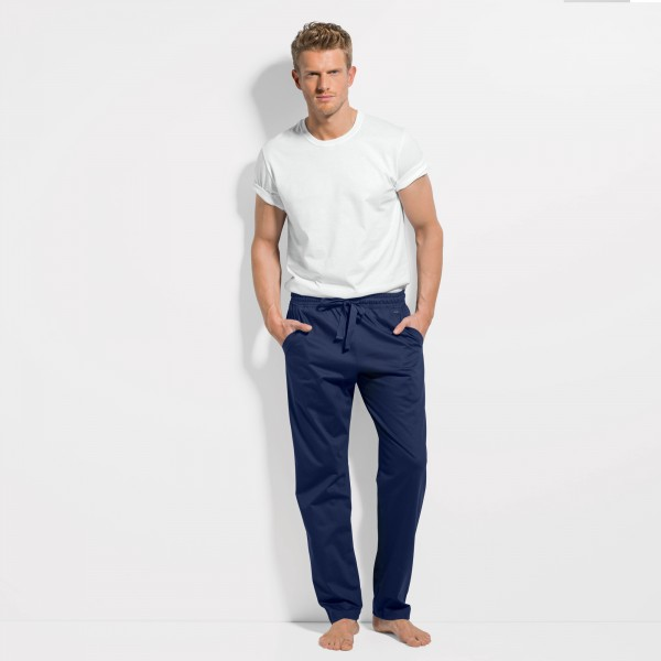 Pants with insert pockets and drawstring