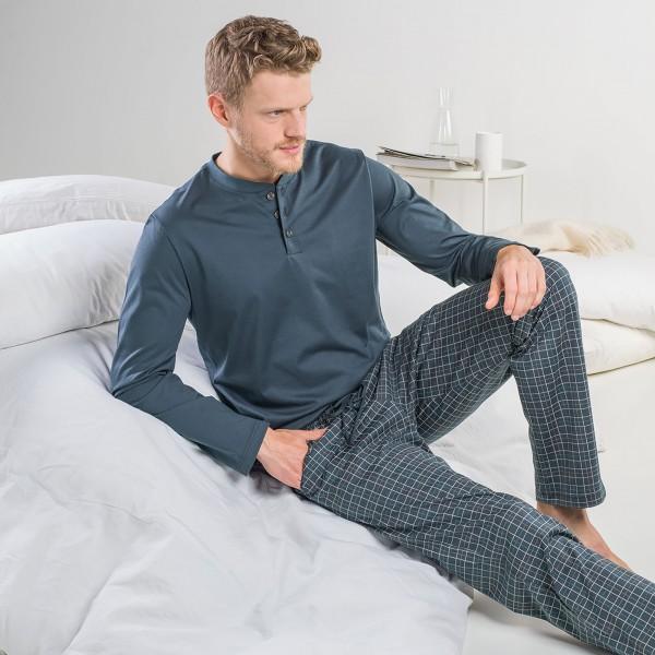Pyjama long, button placket