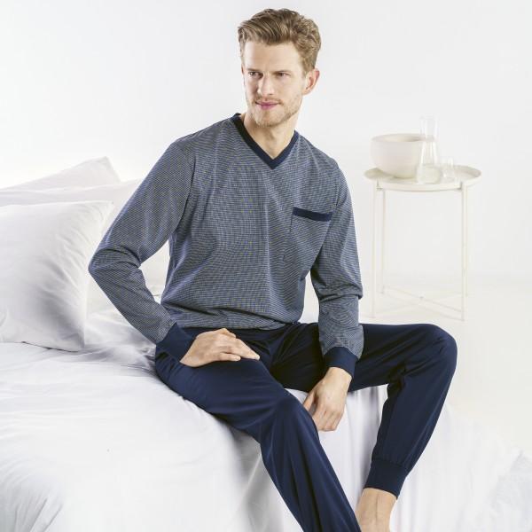 Pyjama long, encolure en V, poignets serrés